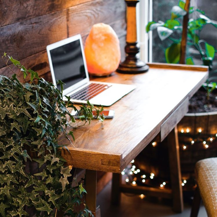 Wooden desk with open laptop and Himalayan salt lamp. Ivy grows up the desk.